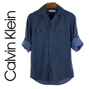 CALVIN KLEIN   Chambray Twill Button Down Shirt